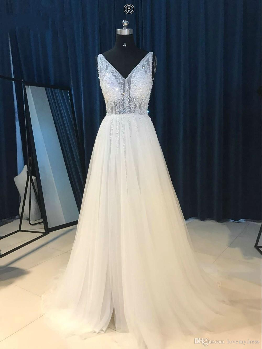 Sparkly Deep V neck Pearls Champagne 2018 Pageant Prom Dress Wine Red Cheap Long Backless See Through Beaded Backless Tulle Evening Gown