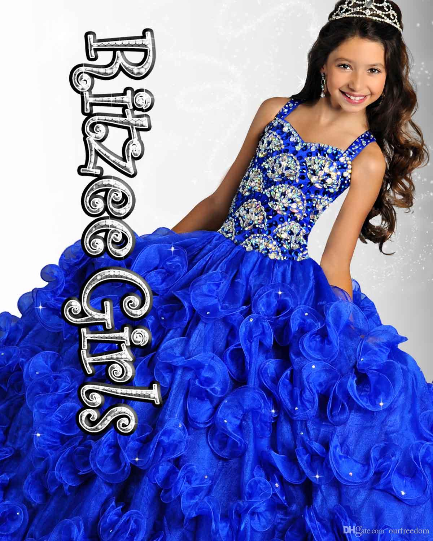 2019 جديد كريستال فتاة فساتين مهرجان مع الخرز الرسن الكشكشة الكرة ثوب الأورجانزا مخصص متواضع الأزرق الأصفر الوردي زهرة فتاة أثواب الطفل