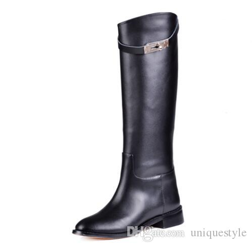Femmes bottes d'hiver Top Quality Fashion Brand Luxe Simple Sexy Nightclub Ladies warmClassic supérieure en cuir Véritable Cuir Knight bottes