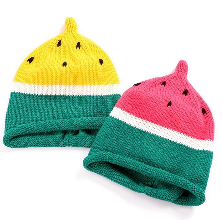 Bebé niño pequeño de punto de ganchillo sandía sombrero niño niña niños invierno cálido suave de punto Cap regalos de Navidad 1Y-10Y