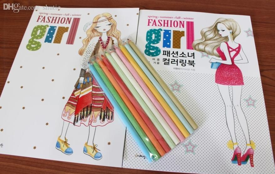 Wholesale The Fashion Girl Colouring Book Secret Garden Style Coloring Relieve Stress Kill Time Graffiti Painting Drawing