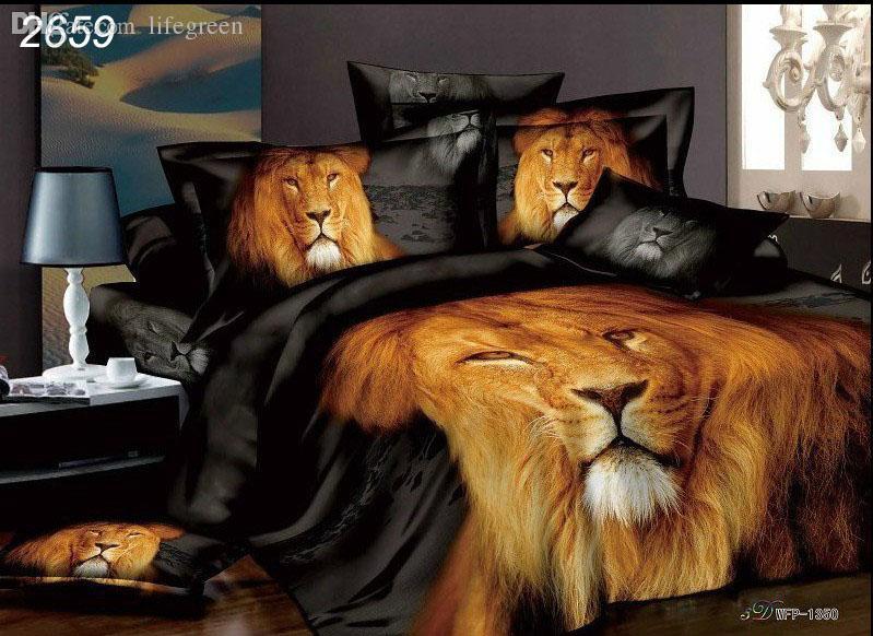 Acheter Gros Afrique Lion Impression Housse De Couette Pour Lit 3d