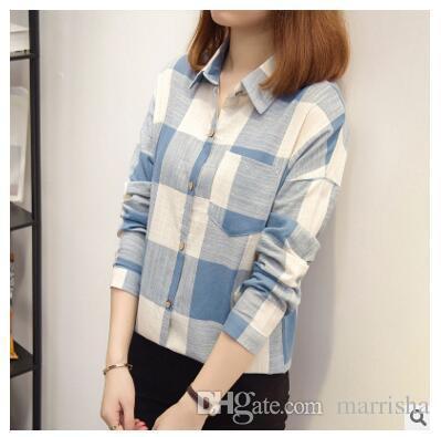 d8453d3fd63 2019 Spring Vintage Colorful Big Plaid Women S Cotton Linen Long Blouses  Ladies Tops Shirt Plus Size Tunic Blusas Camisa Feminina From Marrisha