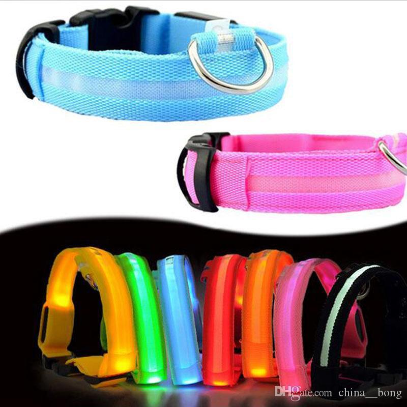 Nylon-LED-Haustier-Hundehalsband, Nachtsicherheit blinkender Glow in der dunklen Hundeleine, Hunde leuchtende Leuchtstoffkragen Pet Supplies