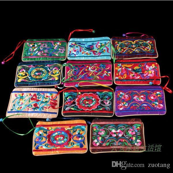 독특한 작은 벨 지퍼 보석 선물 가방 수 놓은 중국 스타일의 재사용 실크 포장 파우치 여성 동전 지갑 가방 / 많은