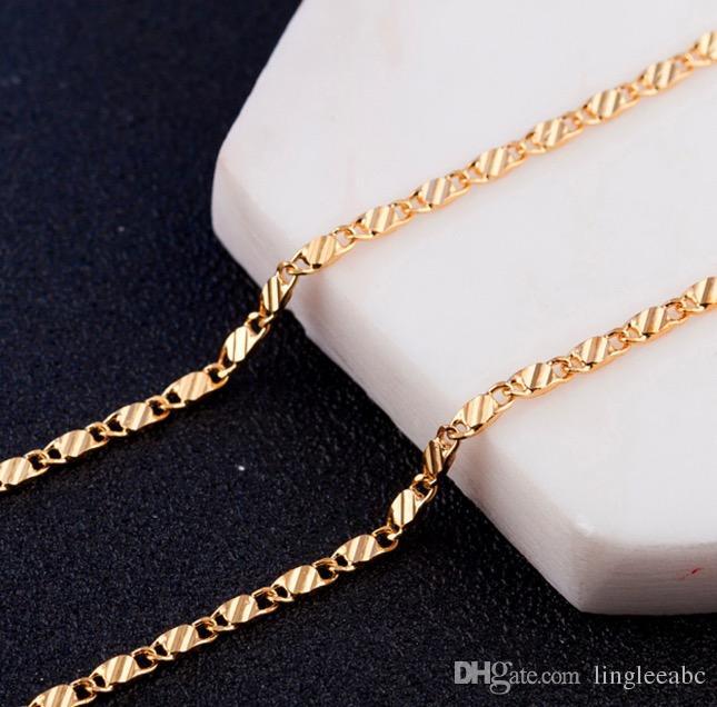 Zincir Kolye 16 18 20 22 24 26 28 30 inç 8 Boyutları Yüksek Kalite Takı 18 K Altın Kaplama Kolye Sıcak Satış Promosyon Zinciri