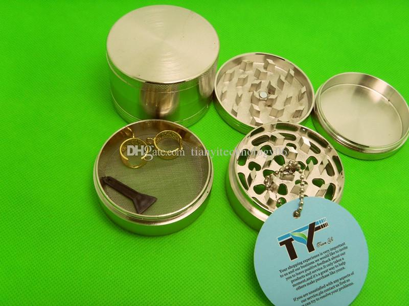 "Tobacco Grinder 2.5"" Zinc Alloy Herb Pollen Spice Crusher Mills with Golden Lanyard Ring Gift"