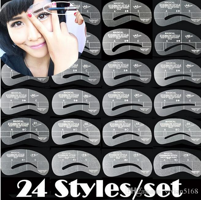 Eyebrow stencils 24 stylesGrooming Stencil Kit Reusable Eyebrow Card Brow template Shaping DIY Beauty Make Up Tools best price