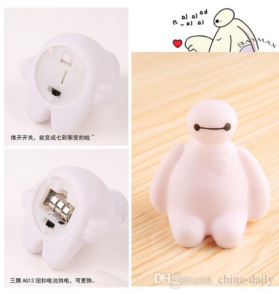 Ücretsiz EMS 100 adet YENI 3D Karikatür LED 7-color Değiştirme Flaş Lambası Gece Lambası Mum Perakende Kutusu Hediye