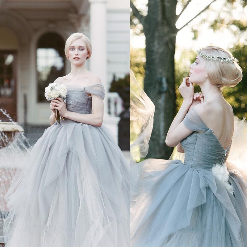 Großhandel 2015 Atemberaubende Grau Brautkleider Von Sareh Nouri ...