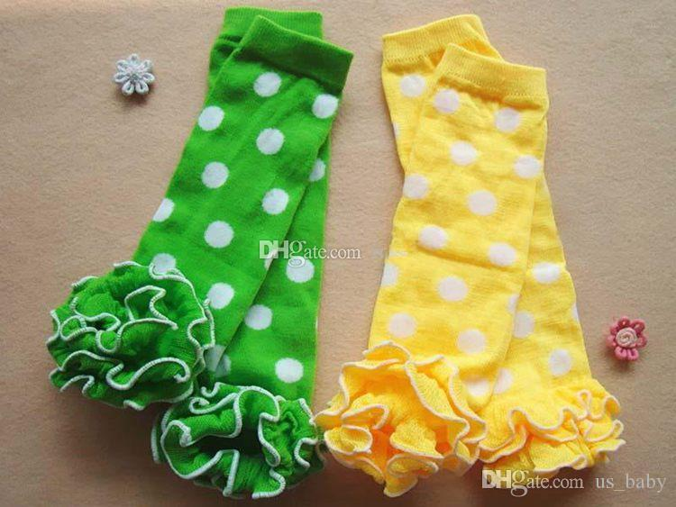 Free Fedex UPS Ship Baby Polka Dot Leg Warmers With Cotton Ruffle Kids girl boy Ruffle Leggings Toddler Knee Pads choose freely