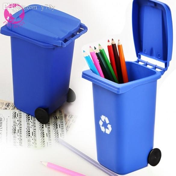 Whole Mini Wheeled Trash Bin Desk Tidy Office Desktop Stationery Organiser Pen Pencil Holder Organizers Wall E14 Toilet