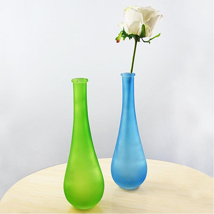 2018 Continental Colored Thin Neck Glass Vase Flower Holder Modern