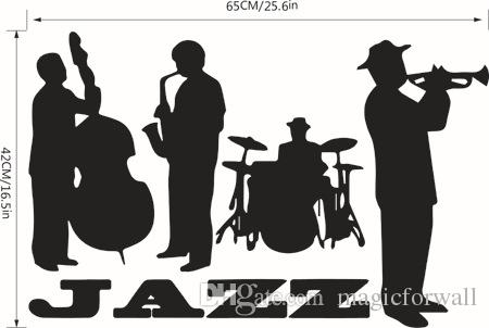 Jazz Concert Art Mural Decor Sticker Jazz Lover Home Decoration Wallpaper Decoration Decal Musical Instrument Jazz Graphic Poster