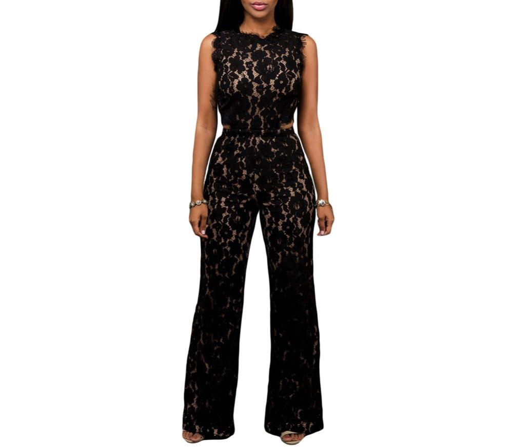 592b2182ef3e 2019 Wholesale FGirl Jumpsuit Overalls Black Lace Nude Illusion Back Cutout  Jumpsuit Rompers Womens Jumpsuit Romper FG31375 From Xaviere