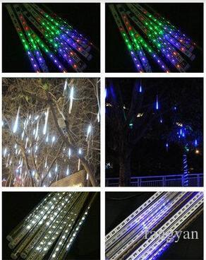 IP65 su geçirmez 30 CM 8 adet / takım Meteor Duş Yağmur Tüpler Cadılar Bayramı Chrismas Parti Düğün Ağacı Aydınlatma Dekorasyon Için LED Işık Ücre ...
