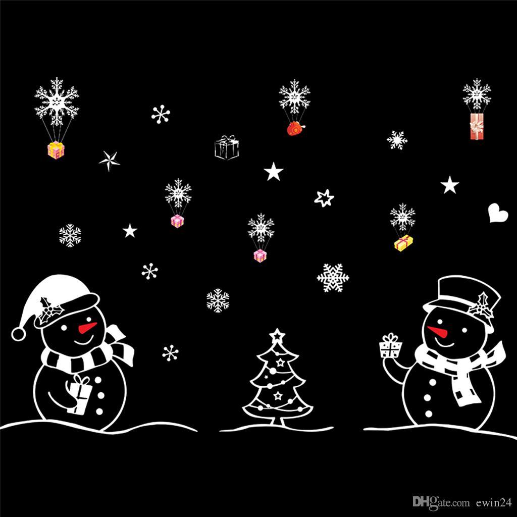 Merry Christmas Duvar Sticker DIY Windbells Duvar Kar Tanesi Kabin Kardan Adam Pencere Çıkartmalar Süsler Süslemeleri Bırak Gemi