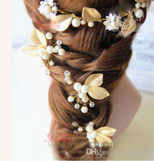 Romantische partij haar pin goud blad bruiloft haar stuk hoofd stuk parel + legering goud kleur