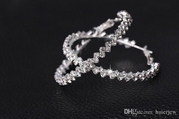 Brincos de argola para as mulheres moda jóias brinco de diamante casamento / noivado rodada brincos pendurados 925 prata grandes brincos de argola