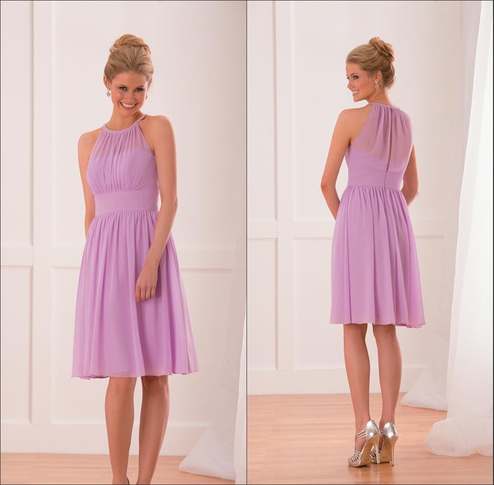 Light Purple Bridesmaid Dresses Cheap 2015 Short Knee Length Chiffon ...