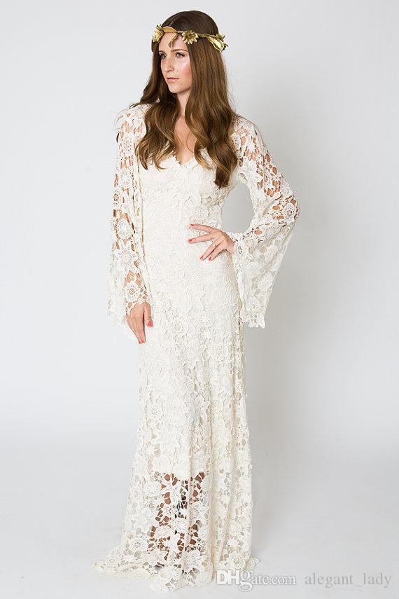 Vintage-İlham Bohemian Gelinlik Bell Kol Dantel Tığ Fildişi Veya Beyaz Hippi Gelinlik Boho Işlemeli Maxi Dantel Elbise