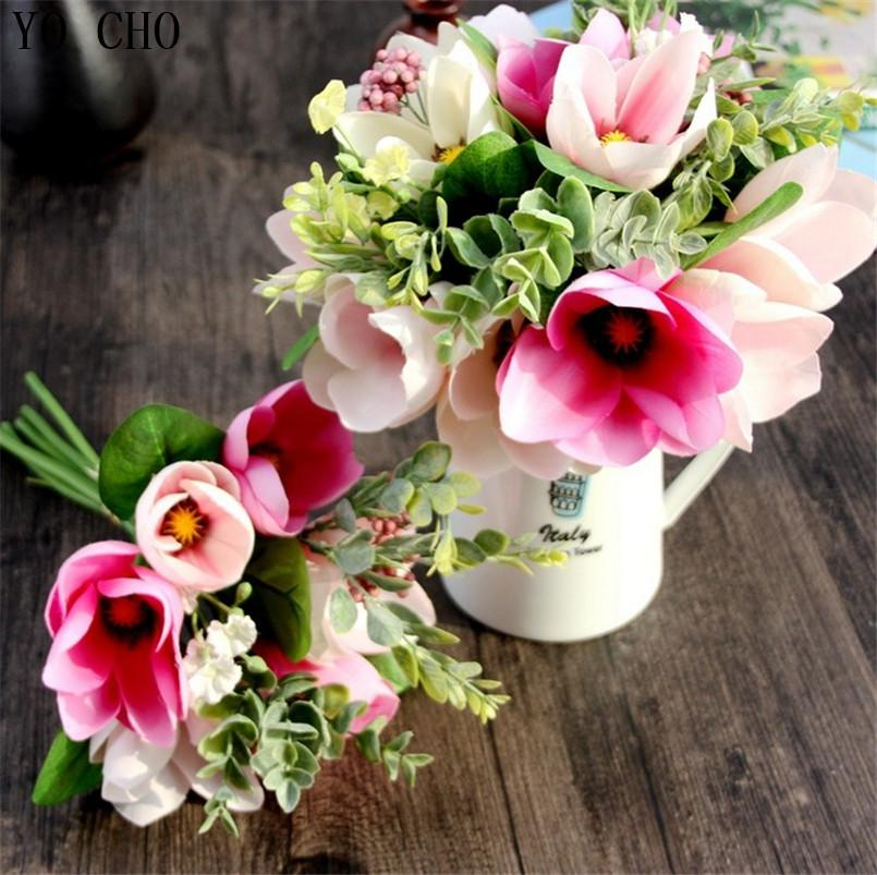 2019 6 Head Decorative Flower Silk Magnolia Artificial Orchid Flower