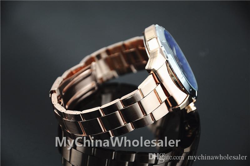 남자를위한 럭셔리 스테인레스 스틸 시계 금속 손목 남자 시계 패션 럭셔리 골드 크리스탈 쿼츠 라인 석 날짜 3 - 다이얼 번호 손목 시계