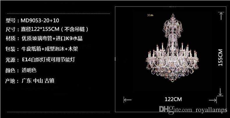 30 lights candle holders chandelier Modern large crystal chandelier Star hotel big LED chandelier E14 led pendant lamp lustres de cristal