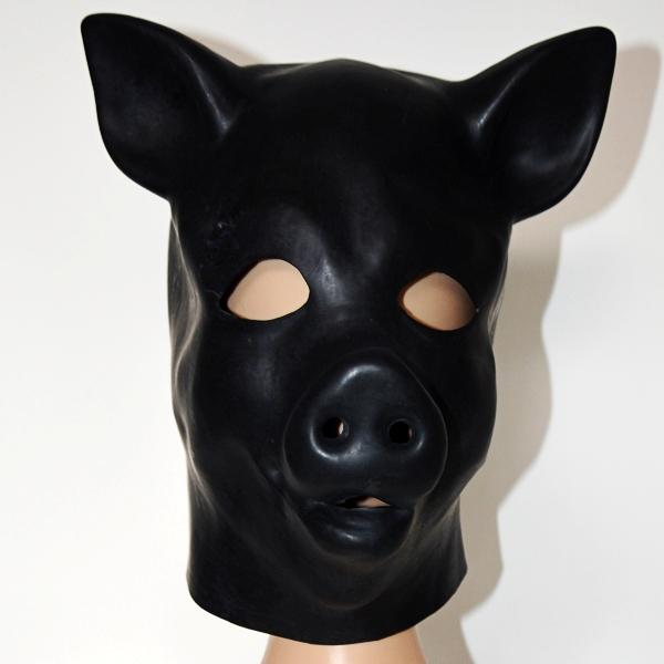 Hot sex product New male female 100% natural latex bondage pig head mask eyepatch gagged headgear hood adult BDSM toy bed game set 1011