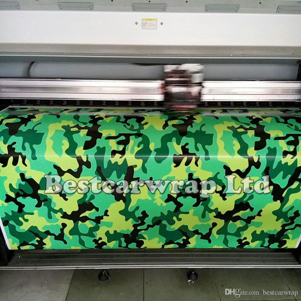 Matte / Glossy Snow Camo vinyl Car Wrapping film green yellow black camouflage sticker vehicle wrap film foil 1.52x 30m