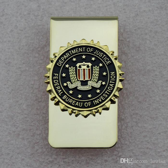 미국 FBI 법무부 금속 배드민턴 FBI 금전 클립