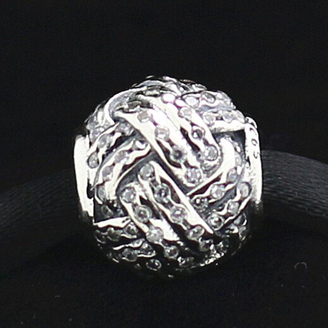 2015 925 Sterling Silver Love Knot Charme Talão com Cz Clear Fits Europeu Pandora Jóias Pulseiras Colares Pingentes