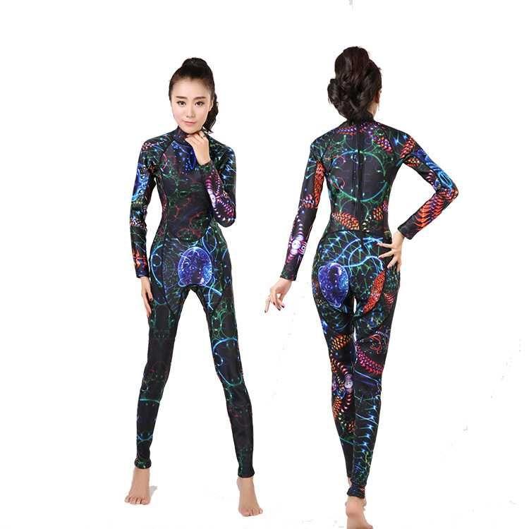 무료 배송 3mm 여성 네오프렌 잠수복 잠수복 전용 바디 슈트 스쿠버 다이빙 3 색 착용 잠수복