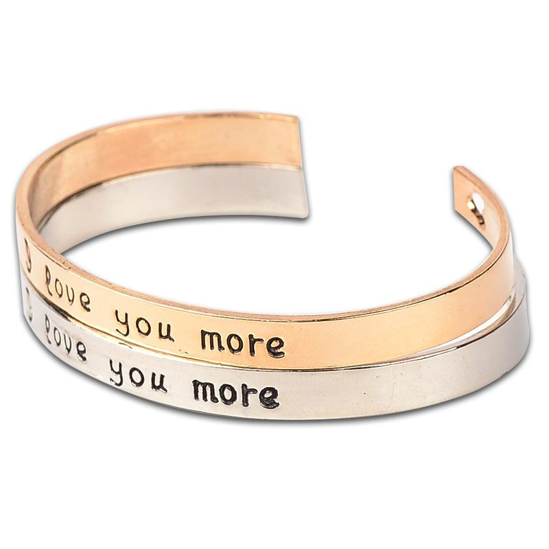 Wholesale-High Quality Stamped Saying I Love You More Cuff Bracelet With Laser Heart Elegant Bangle For Women Fashion Jewelry