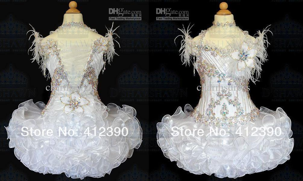 Livraison gratuite New White Organza Au-dessus du genou / Mini robe de bal Cristaux Halter plume Cupcake fille Pageant robes Infant Toddler