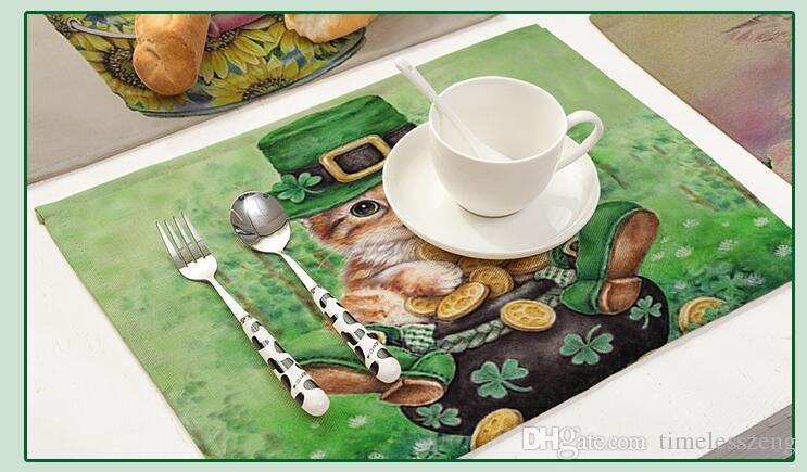 Animal Blanco Tigre Panda Gato Aislamiento térmico Vajilla Algodón Lino Mantel individual Cocina Comedor Cuenco Plato Cojín Estera de tabla