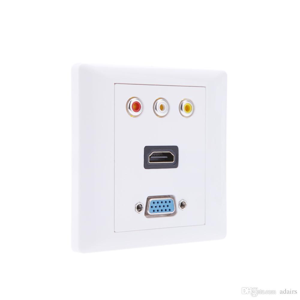 Wall Plug Plates 1 X Hdmi 1 X Vga 3 X Av Wall Plate Coupler Socket Va & Hdmi & Vga