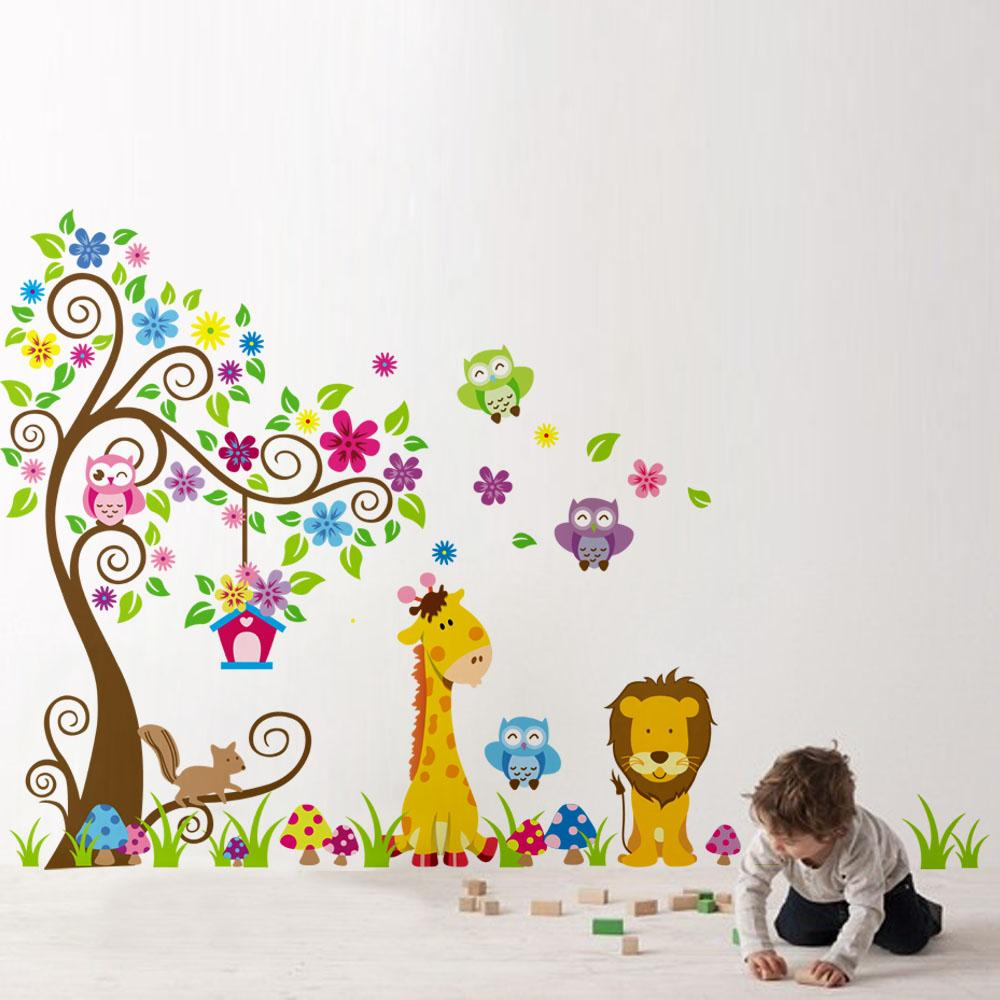 Home decoration diy kids child room decal cartoon cute lion owl home decoration diy kids child room decal cartoon cute lion owl giraffe wallpaper stickers art decor mural wall sticke wall decals for home wall decals for amipublicfo Gallery