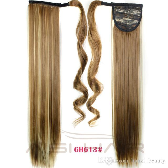 "2017 I's a 24"" 110g High Temperature Fiber Straight Hairpieces Synthetic Wraparound Drawstring Ponytails for Women"