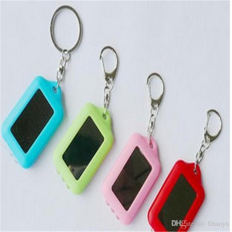 Excellent Quality Mini Solar Power Rechargeable 3 LED Flashlight Keychain Light Torch Ring Holder TO131