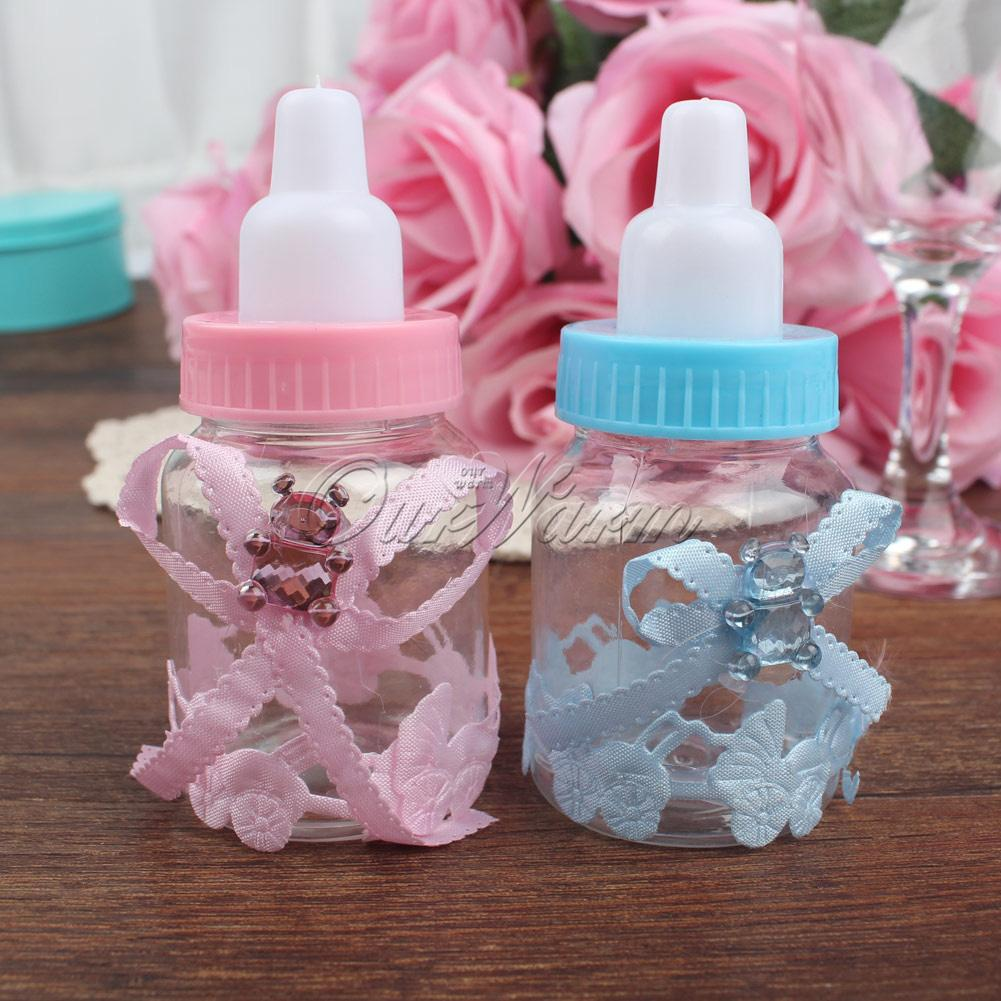 Pink/Blue Plastic Bottle Candy Box Baby Shower Baptism Christening ...