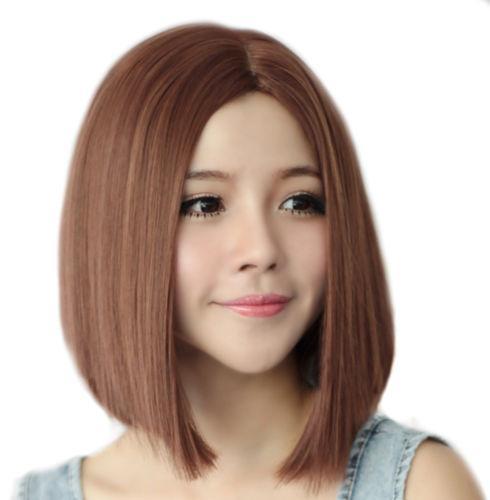 Women Brown Hair Bob Straight No Bangs Medium Long Coaplay Fancy