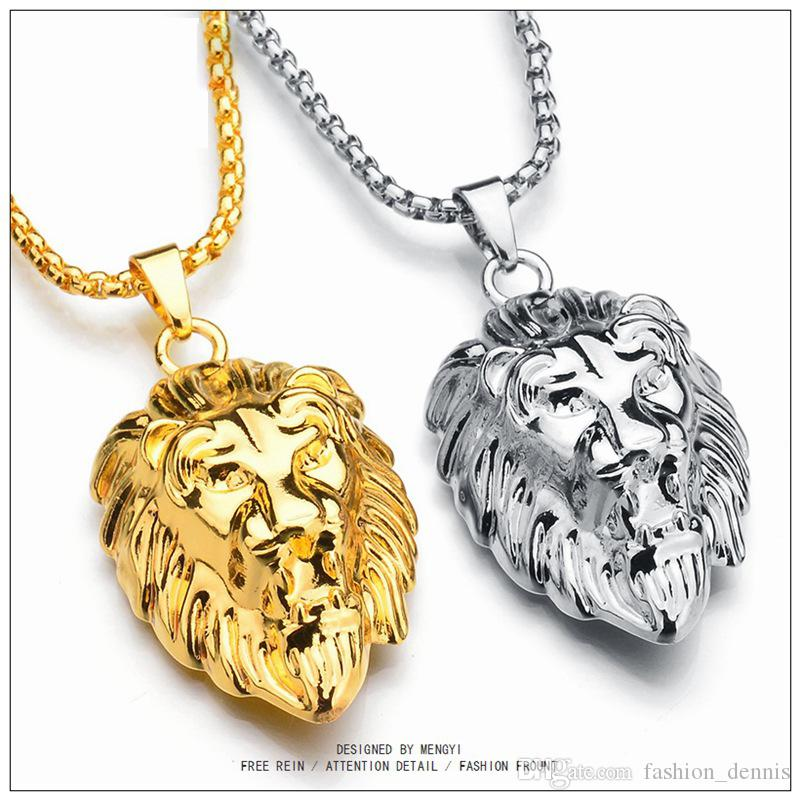 High quality Gun Shaped necklaces Gold bullion plug Lion's head pendant Gold and Silver chains For Men s Hip Hop Jewelry Accessories