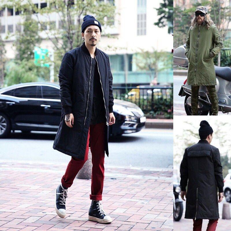 Fall 2015 Fashion Extreme Winter Coats Mens Designer Clothes Men Urban Clothing Long Flight Bomber Back Zip Jacket Men Coats Pants Womens Pants Male Pants