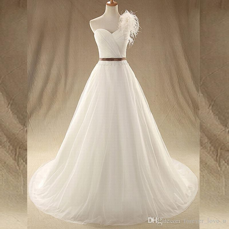 a1beffa808b2 Discount Stunning Sweetheart One Shoulder Wedding Dress A Line Ruched Top  Feather Lace Tulle Wedding Gowns Lace Up Back Sweep Train Best Wedding  Dresses ...