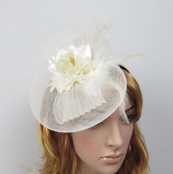Meistverkauft! Hochzeits-Braut-Verzierungs-Damen-Partei-Haar-Zusätze Feder und Blume Fascinator-Hut mit schwarzem Stirnband / B3609