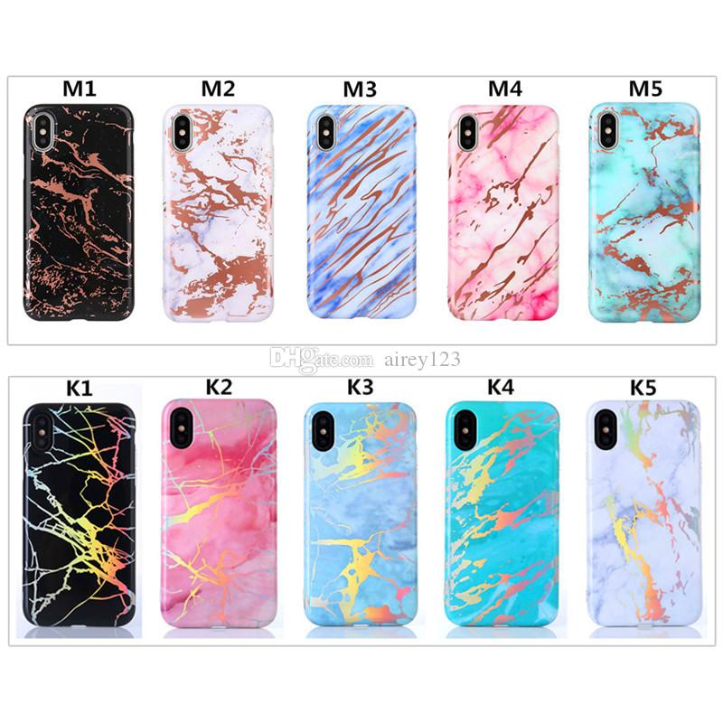 Hologram Housing Stone Cover Laser TPU Plated Shell Phone Protective Chrome Marble Design Case for iPhone X 10 6 6S 7 8 Plus