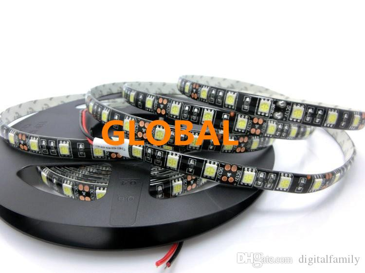 Negro PCB LED Strip 5050, DC12V, tablero de PCB negro, IP65 a prueba de agua, 60LED / m, 5 m 300LED, RGB, blanco, blanco cálido, rojo, verde, azul