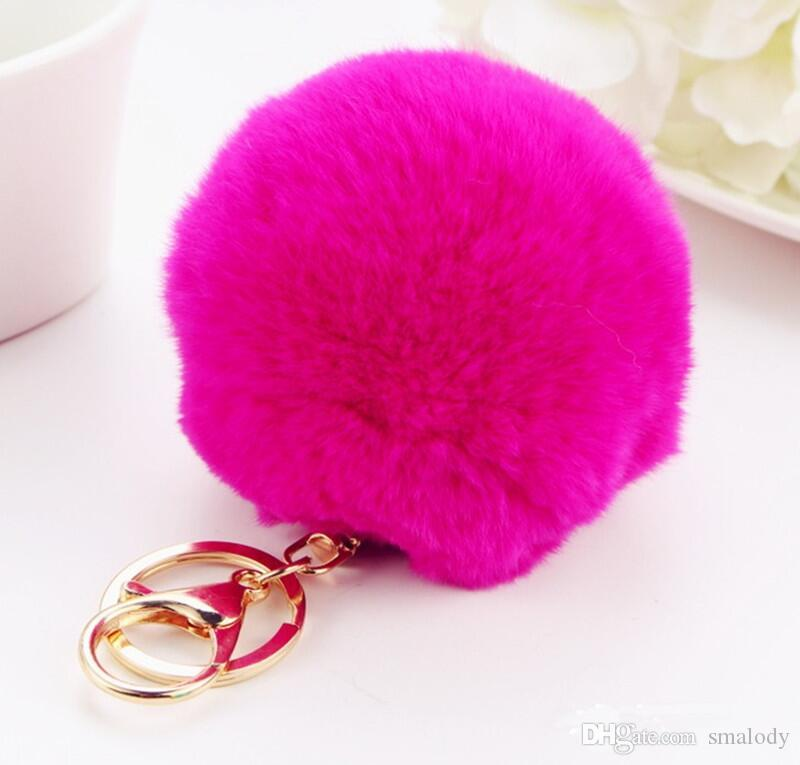 Soft Fur Ball Lovely Metal Key Chains Ball Plush Keychain Car Keyring Bags Accessories