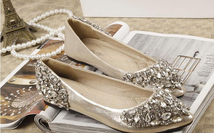 2015 Rhinestones Wedding Shoes Bridal With Bling Sequins Crystal Low Heel Women Free Shipping SM22